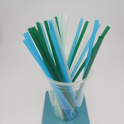 6 200  Green Blue White+strip Flexiable PLA Biodegradable straw