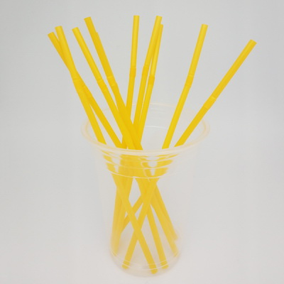 Flexible 6*200mm YELLOW 100% Compostable Biodegradable FDA Certified ECO Friendly Drinking PLA Straw   - 副本